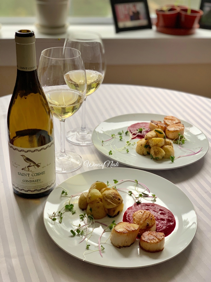 condrieu and scallops